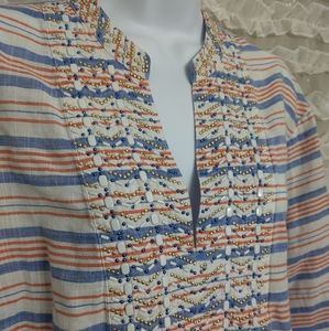 Michael Kors Beaded Striped Cotton Tunic Top 2X